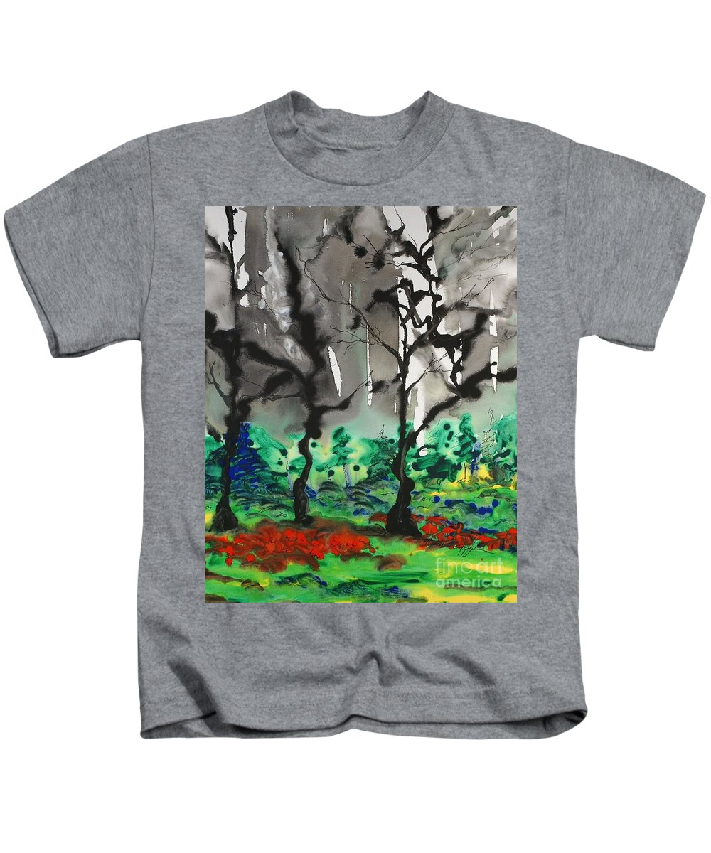Forest Kids T-Shirt featuring the painting Primary Forest by Nadine Rippelmeyer