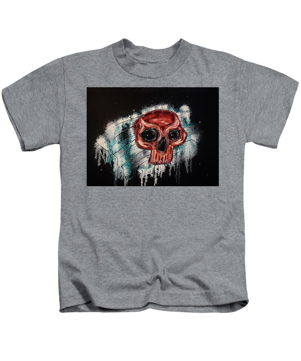 Skulls Kids T-Shirt featuring the painting Primordial Portraits 11 by David Buschemeyer