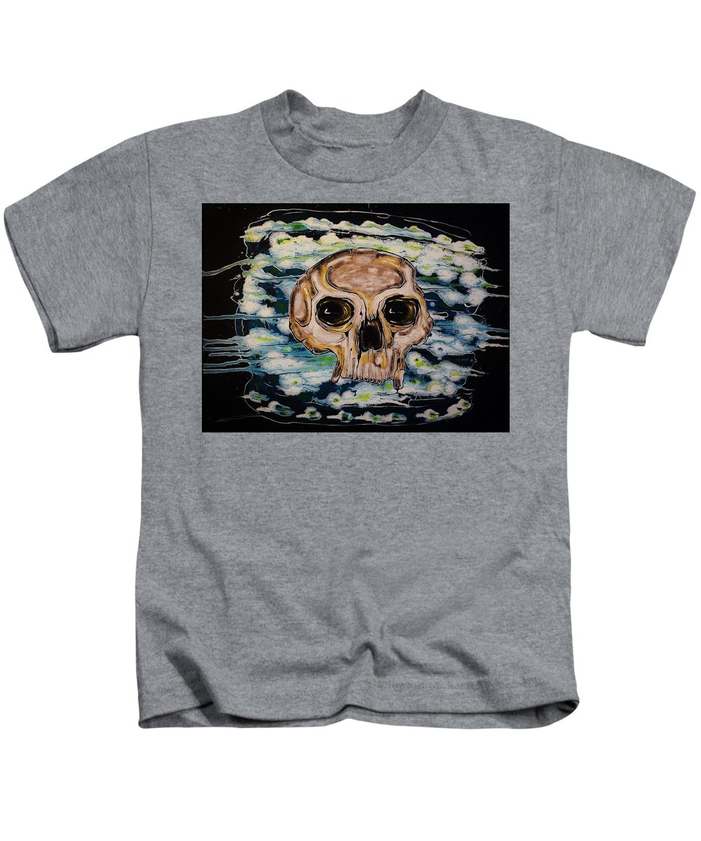 Skulls Kids T-Shirt featuring the painting Primordial Portraits 5 by David Buschemeyer