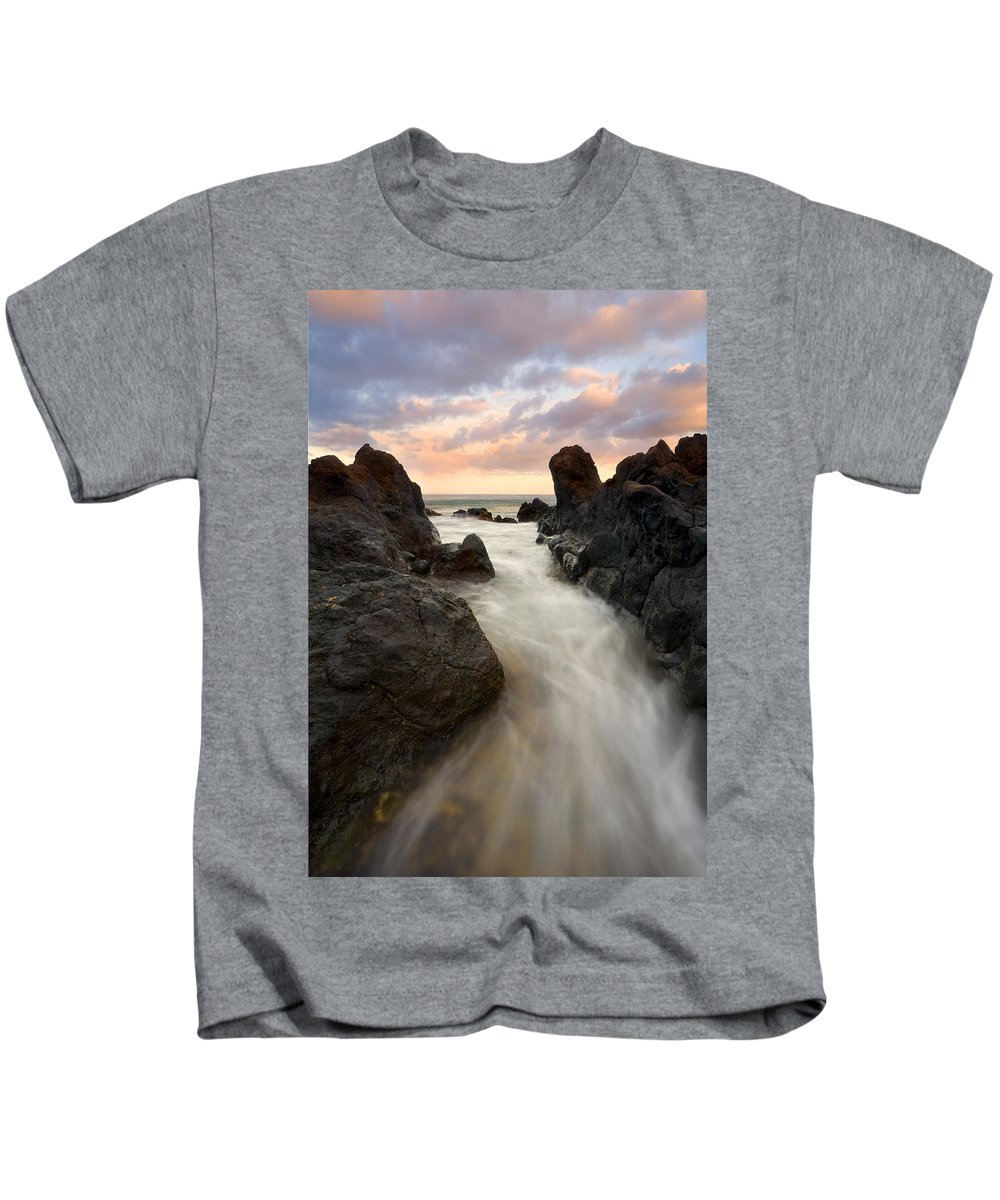 Sunrise Kids T-Shirt featuring the photograph Primordial Tides by Mike Dawson
