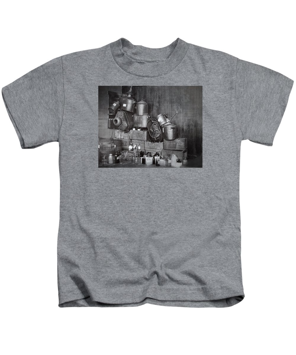Prohibition Kids T-Shirt featuring the photograph Prohibition Confiscated Stills 1920's by Daniel Hagerman