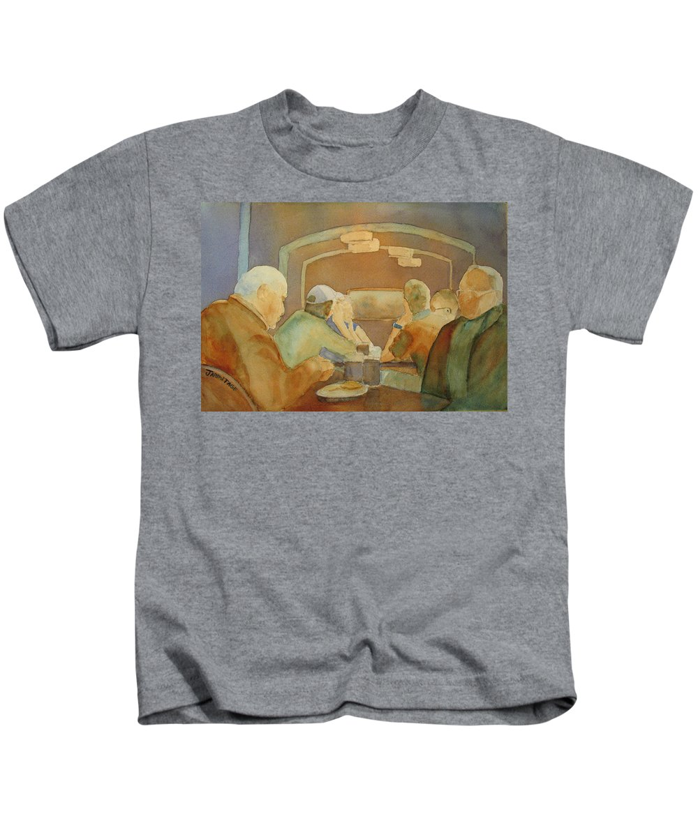 Men Kids T-Shirt featuring the painting Pub Talk II by Jenny Armitage