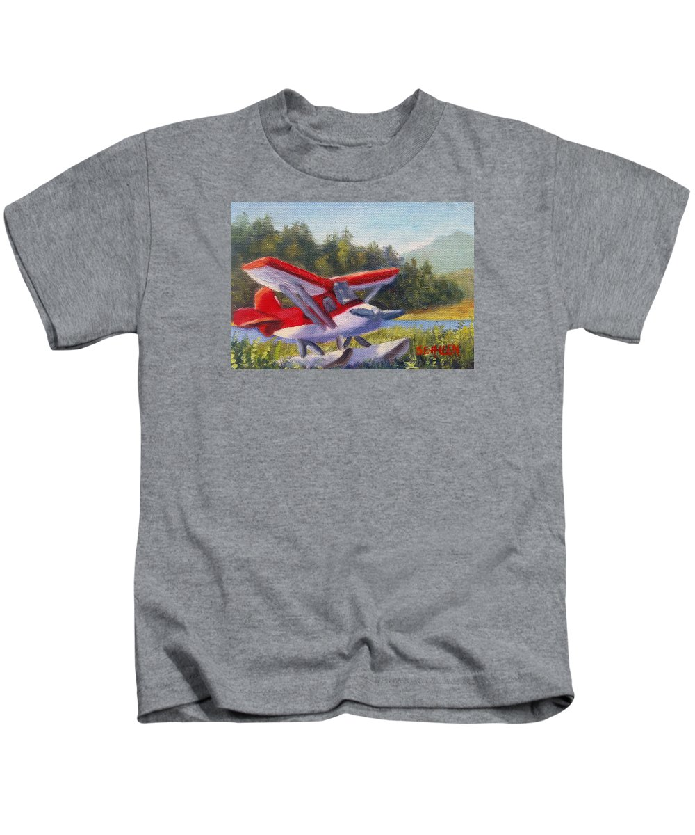 Plane Kids T-Shirt featuring the painting Puddle Jumper by Sharon E Allen