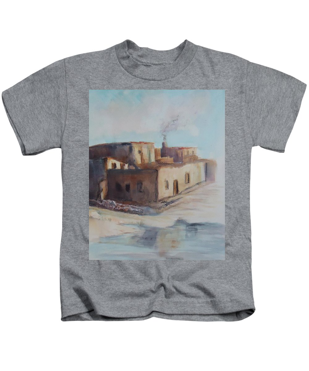 Pueblo Kids T-Shirt featuring the painting Pueblo After The Rain by Charme Curtin