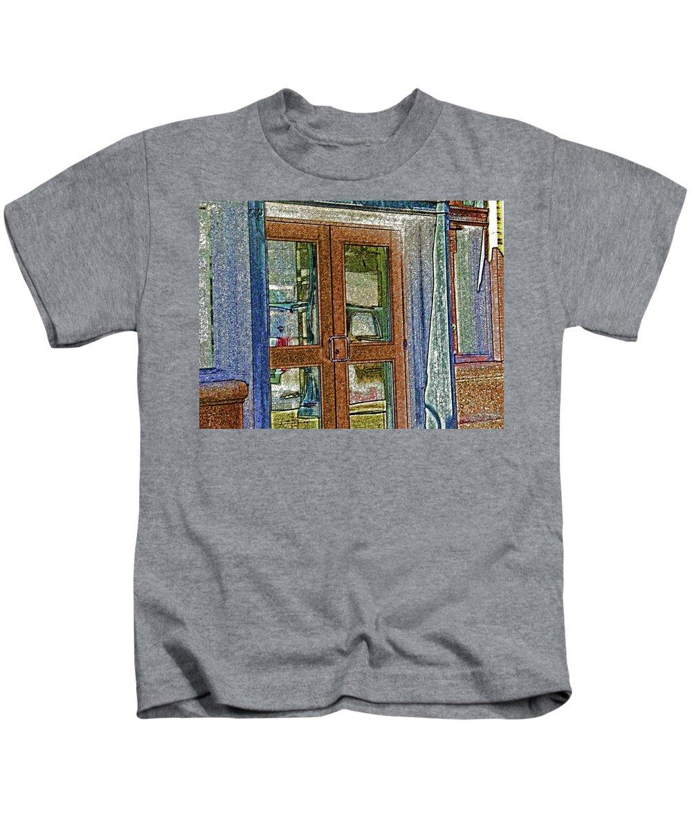 Abstract Kids T-Shirt featuring the digital art Pueblo Downtown--thatcher Building Door by Lenore Senior