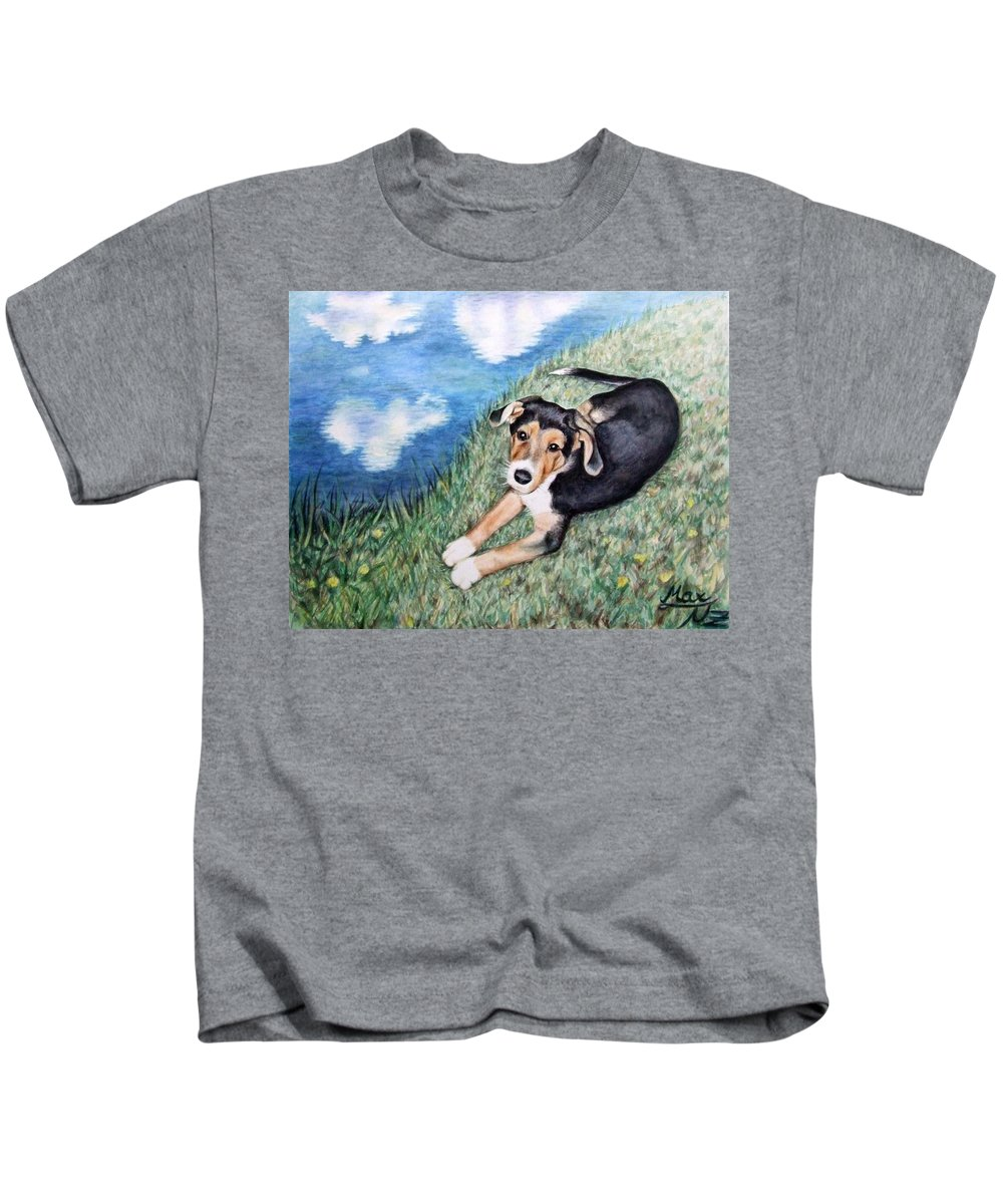 Dog Kids T-Shirt featuring the painting Puppy Max by Nicole Zeug