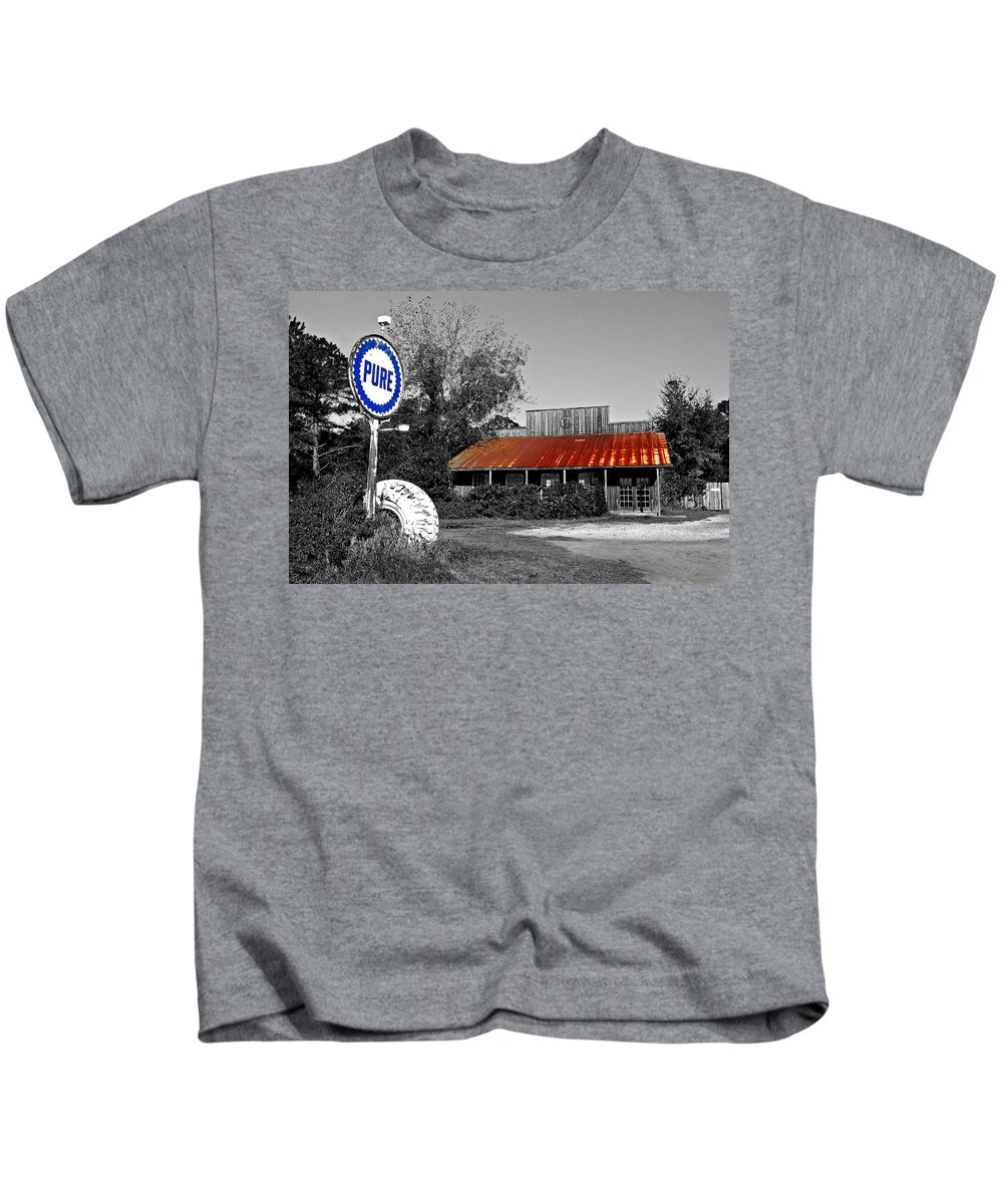 Black Kids T-Shirt featuring the painting Pure Gas Station by Michael Thomas