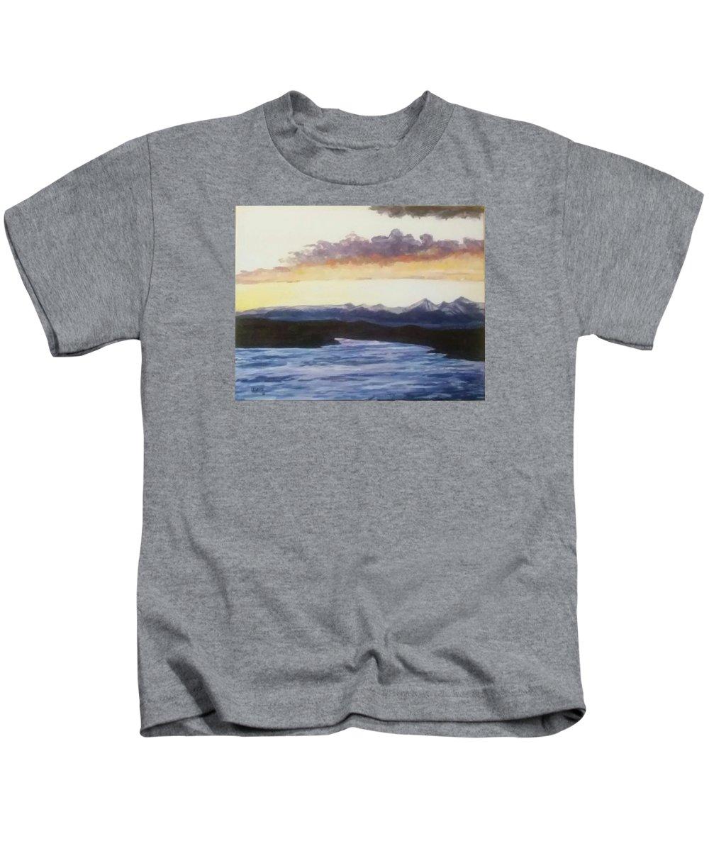 Landscape Kids T-Shirt featuring the painting Purpellow Landscape by Robert Levene