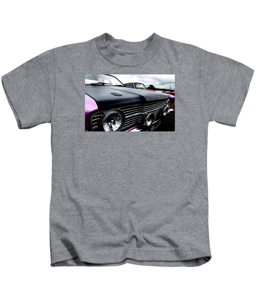 Car Kids T-Shirt featuring the photograph Purple, Black And Chrome by Perggals - Stacey Turner