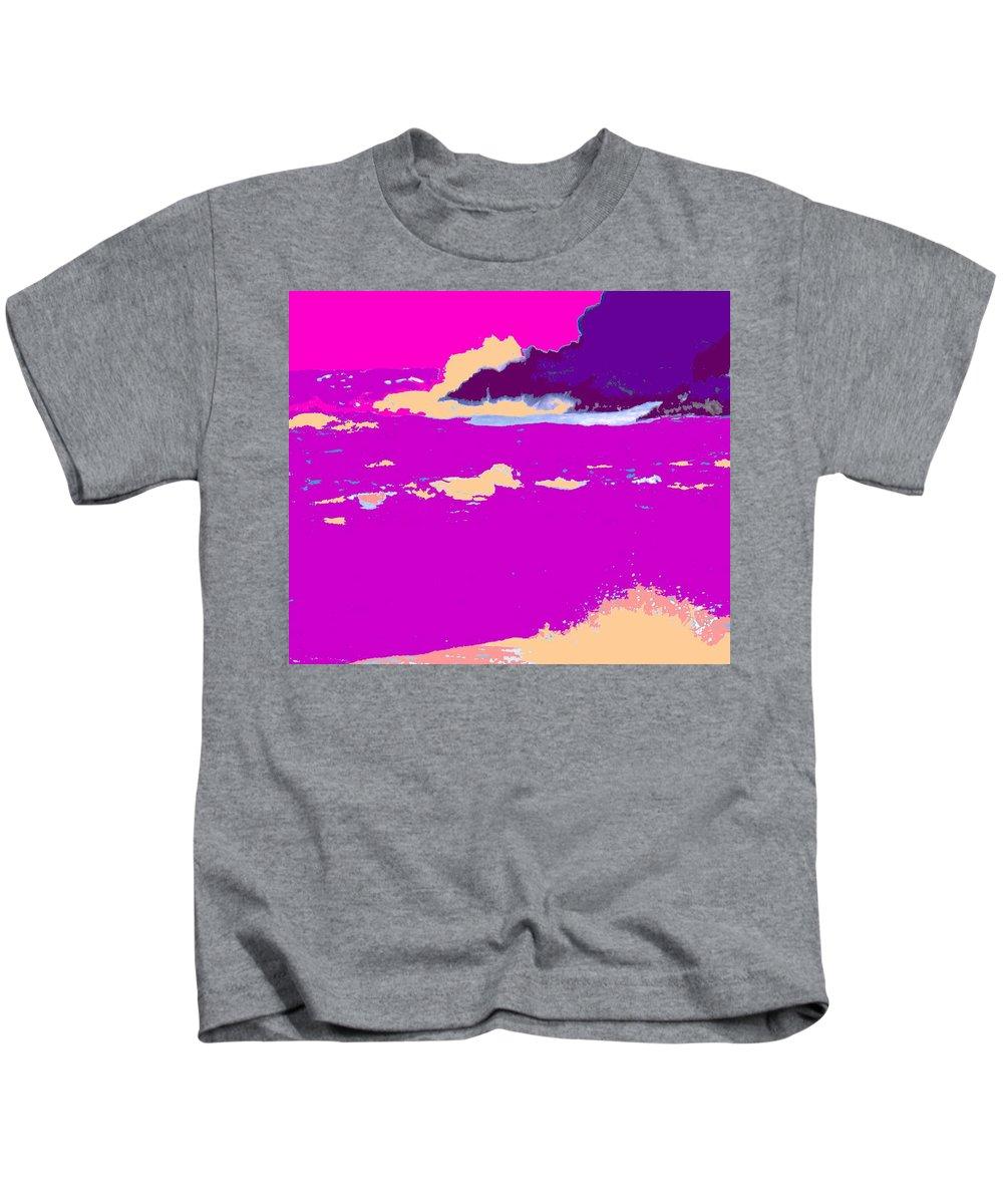 Waves Kids T-Shirt featuring the photograph Purple Crashing Waves by Ian MacDonald