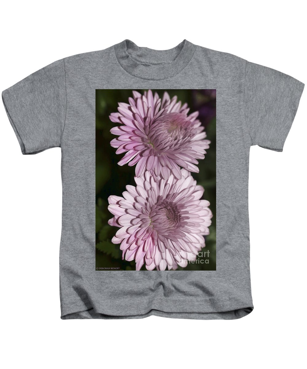 Flowers Kids T-Shirt featuring the photograph Purple Duo by Deborah Benoit