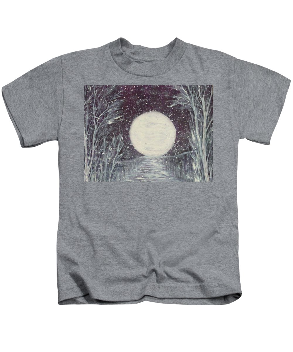 Winter Kids T-Shirt featuring the painting Purple Fantasy by Irina Astley