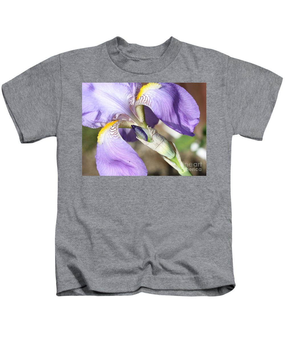 Iris Kids T-Shirt featuring the photograph Purple Iris With Focus On Bud by Carol Groenen