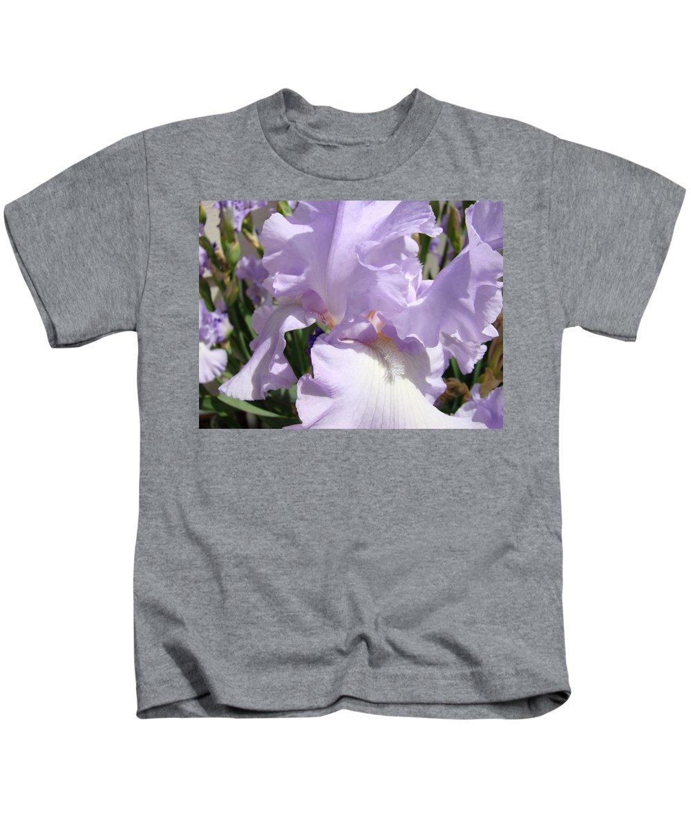 �irises Artwork� Kids T-Shirt featuring the photograph Purple Irises Artwork Lavender Iris Flowers 13 Botanical Floral Art Baslee Troutman by Baslee Troutman
