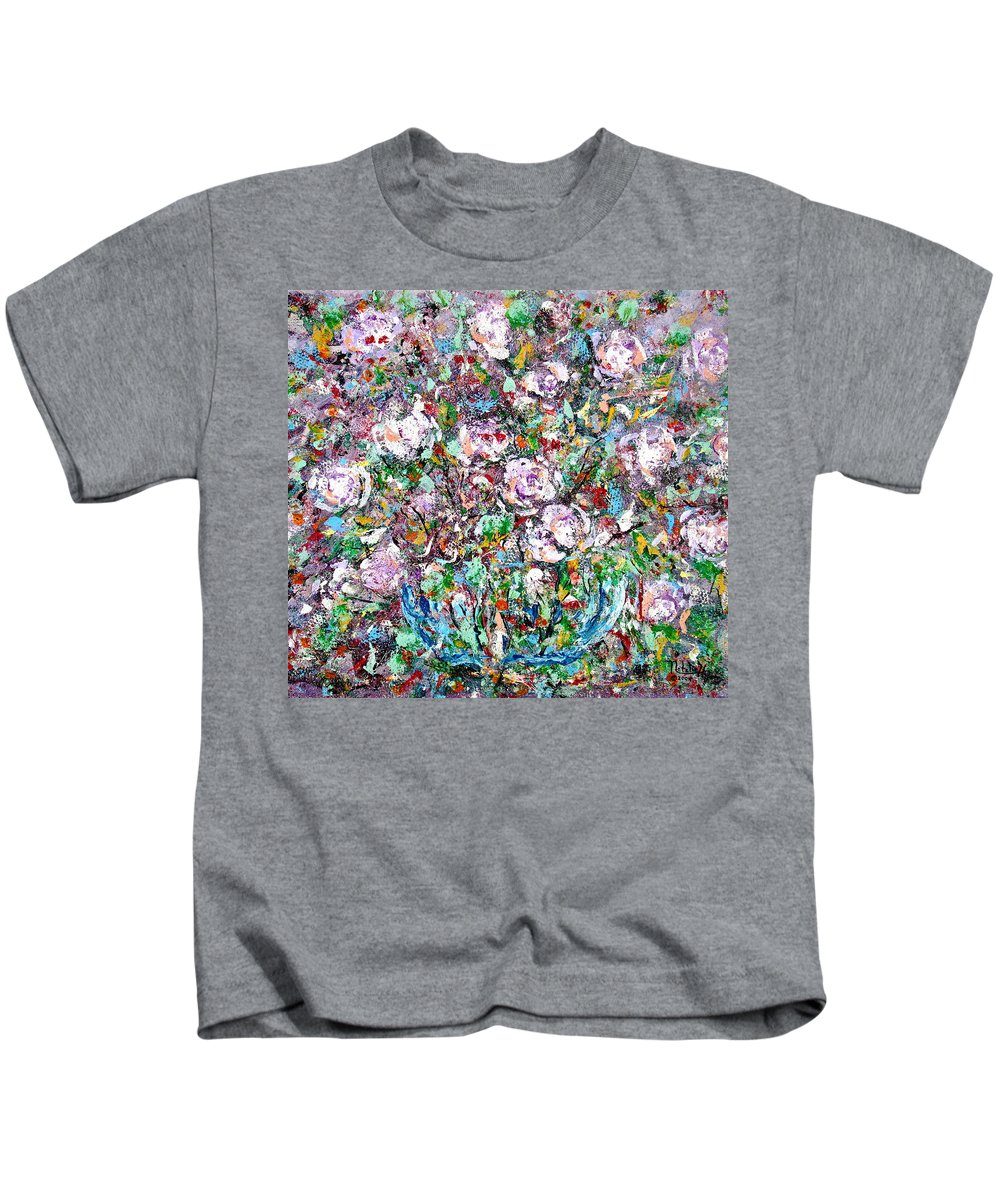 Abstract Kids T-Shirt featuring the painting Purple Passions by Natalie Holland