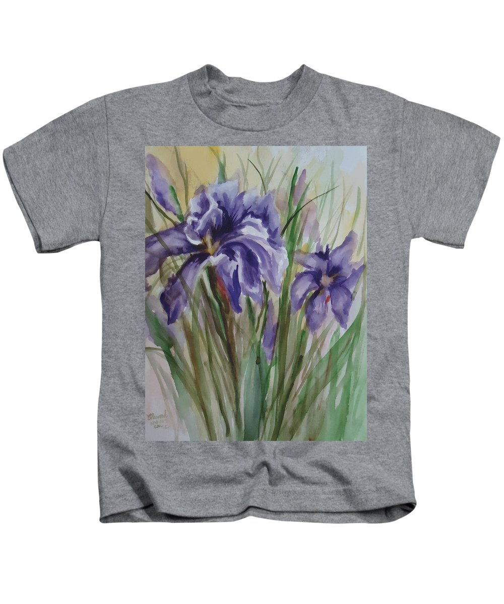 A Trio Of Dutch Irises. Flower Kids T-Shirt featuring the painting Purple Times 3 by Charme Curtin