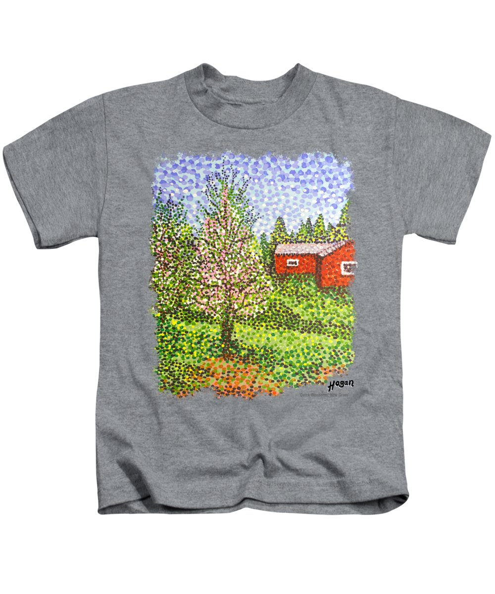 Original Kids T-Shirt featuring the painting Quick Blossoms, New Grass by Alan J Hogan