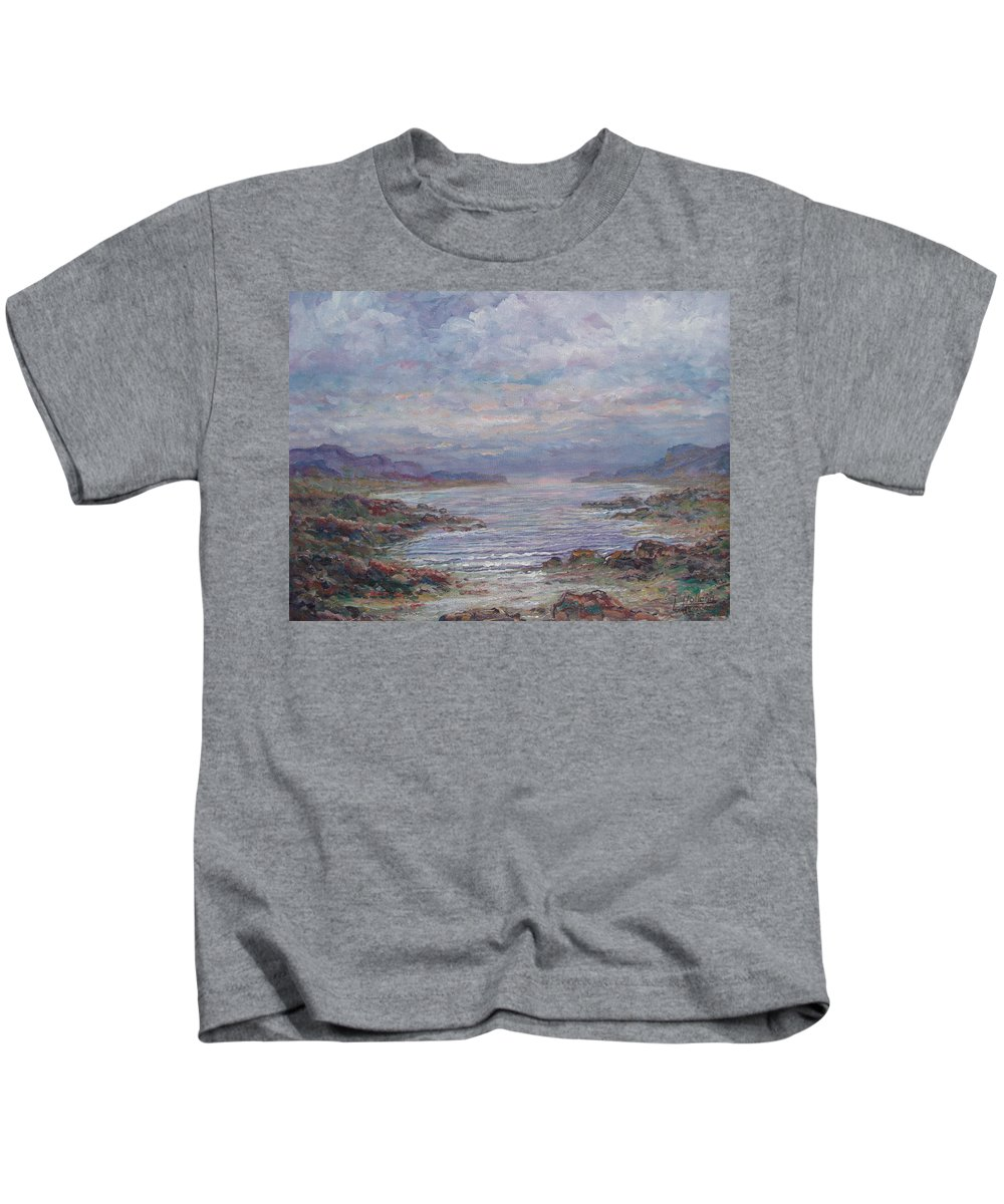 Painting Kids T-Shirt featuring the painting Quiet Bay. by Leonard Holland