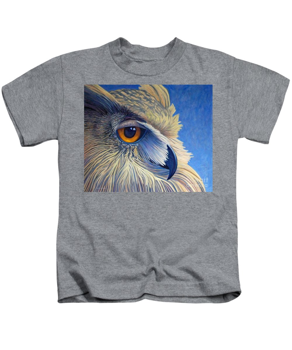 Owl Kids T-Shirt featuring the painting Quiet Joy by Brian Commerford