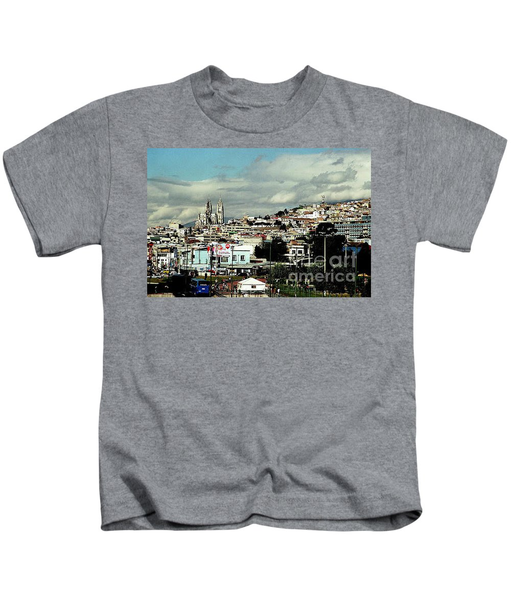 Ecuador Kids T-Shirt featuring the photograph Quito by Kathy McClure