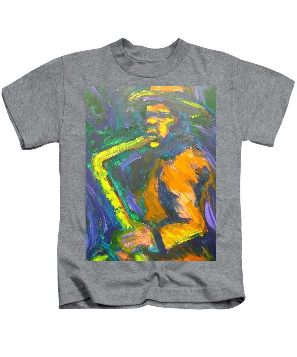 Painting Kids T-Shirt featuring the painting R-night Jam by Jan Gilmore