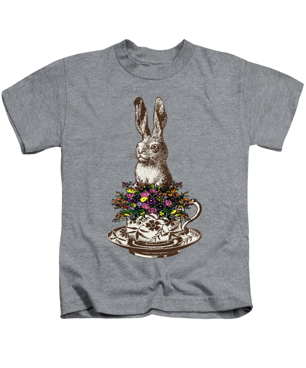 Rabbits Kids T-Shirt featuring the digital art Rabbit In A Teacup by Eclectic at HeART