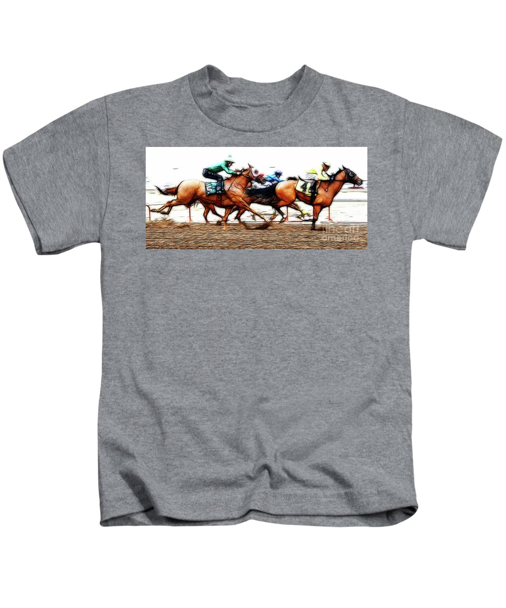 Jockey Kids T-Shirt featuring the photograph Racetrack Dreams 6 by Bob Christopher