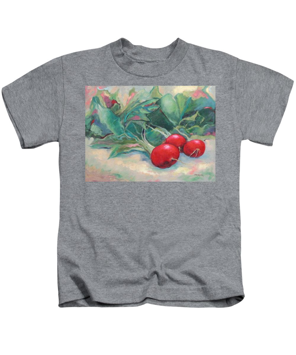 Radishes Kids T-Shirt featuring the painting Radishes by Ginger Concepcion