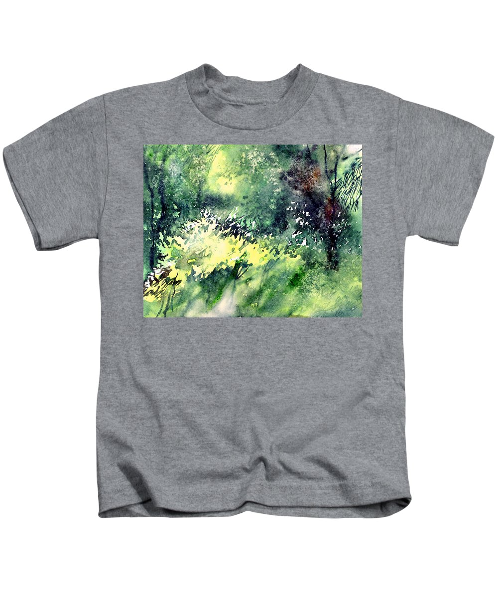 Landscape Watercolor Nature Greenery Rain Kids T-Shirt featuring the painting Rain Gloss by Anil Nene