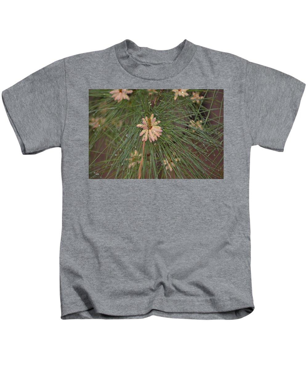 Rain Kids T-Shirt featuring the photograph Rain N Flower by Meg M