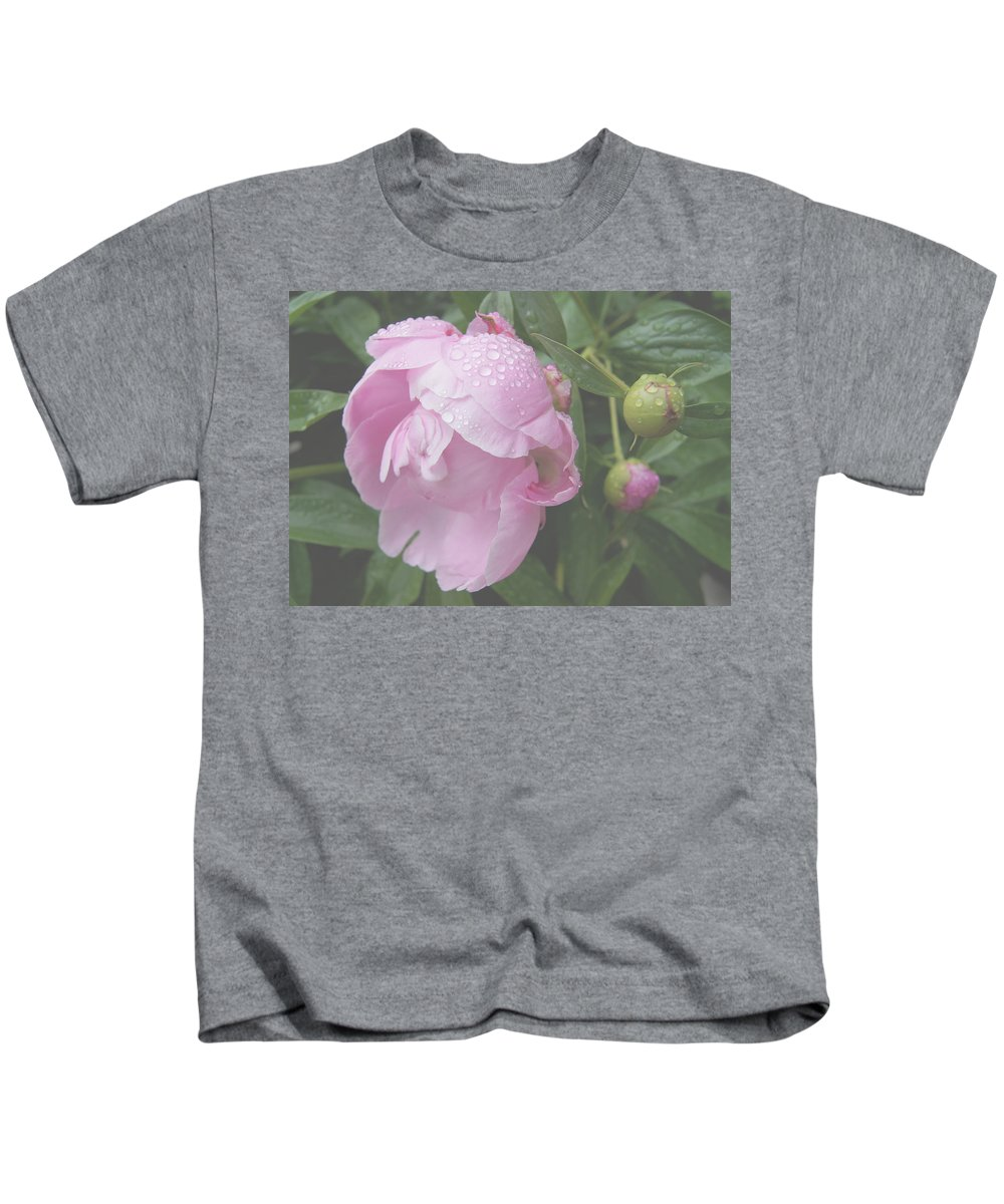Floral Kids T-Shirt featuring the photograph Rain On Peony by Kristi Ulrich