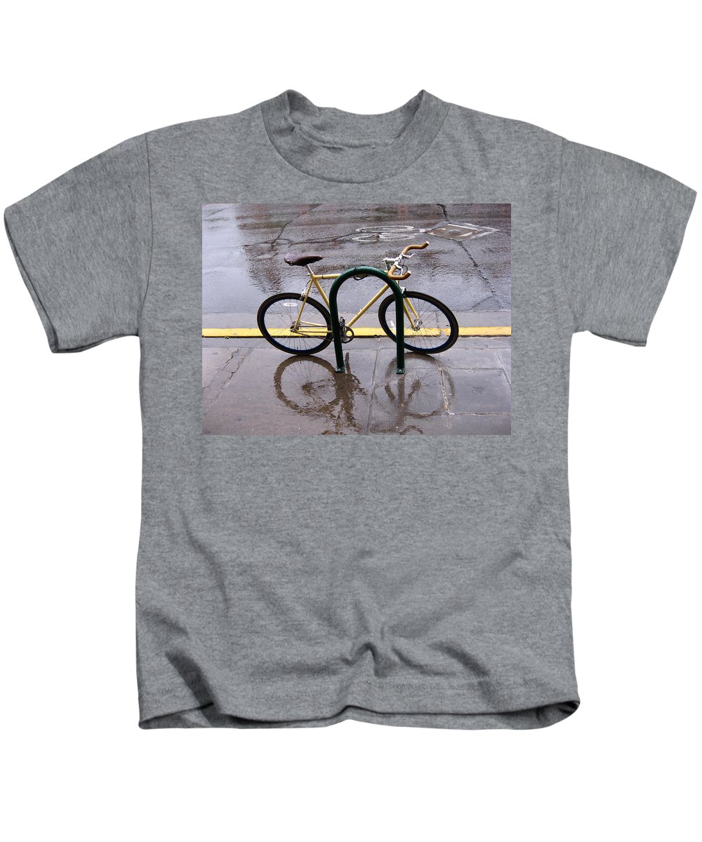 Color Photography Kids T-Shirt featuring the photograph Rain Reflect by Kirk Griffith