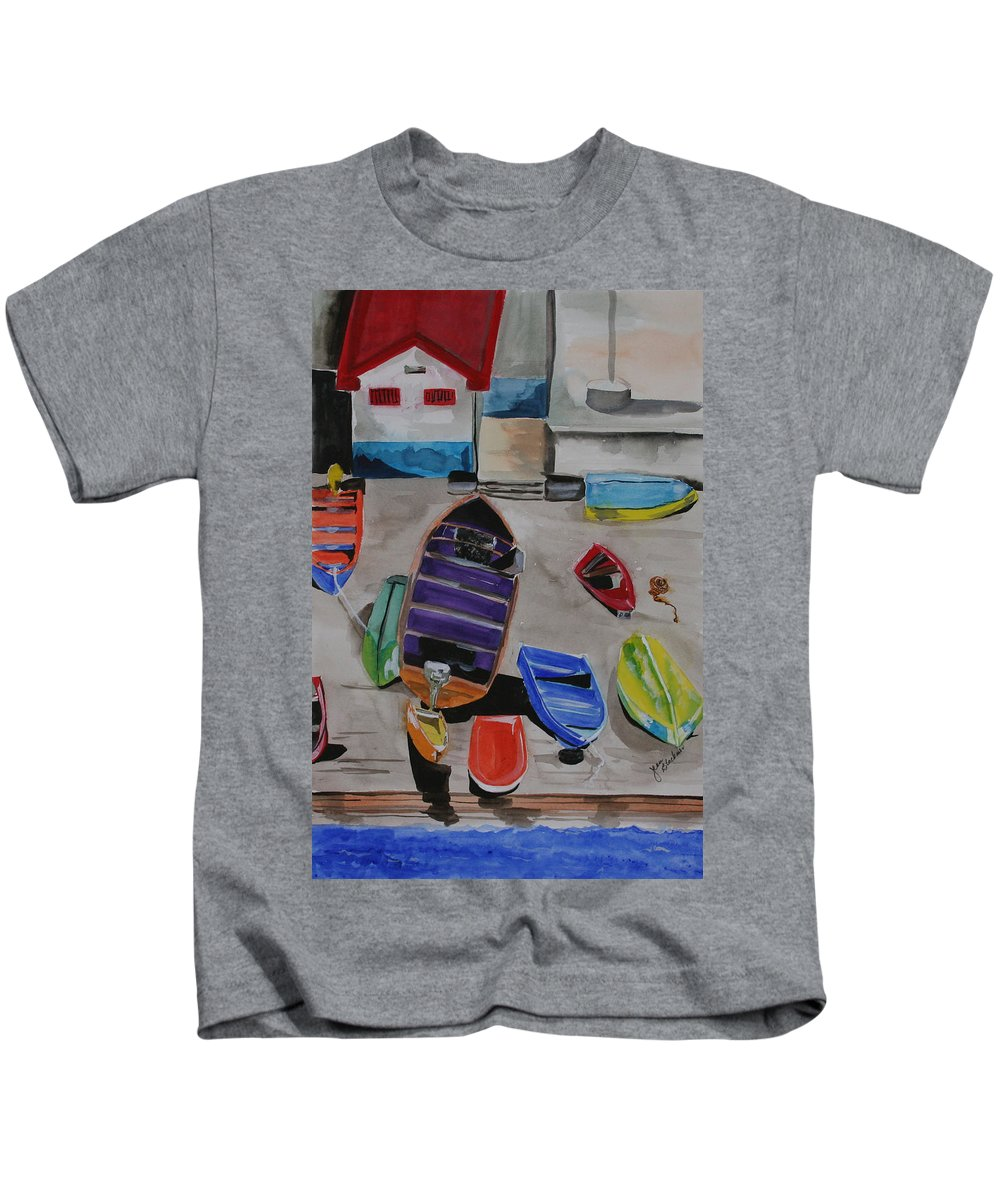 Boats Kids T-Shirt featuring the painting Rainbow On The Dock by Jean Blackmer