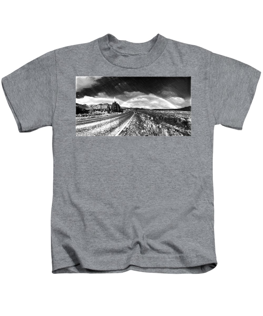 Roadway Kids T-Shirt featuring the painting Rainbow Road - Id 16217-152021-8918 by S Lurk
