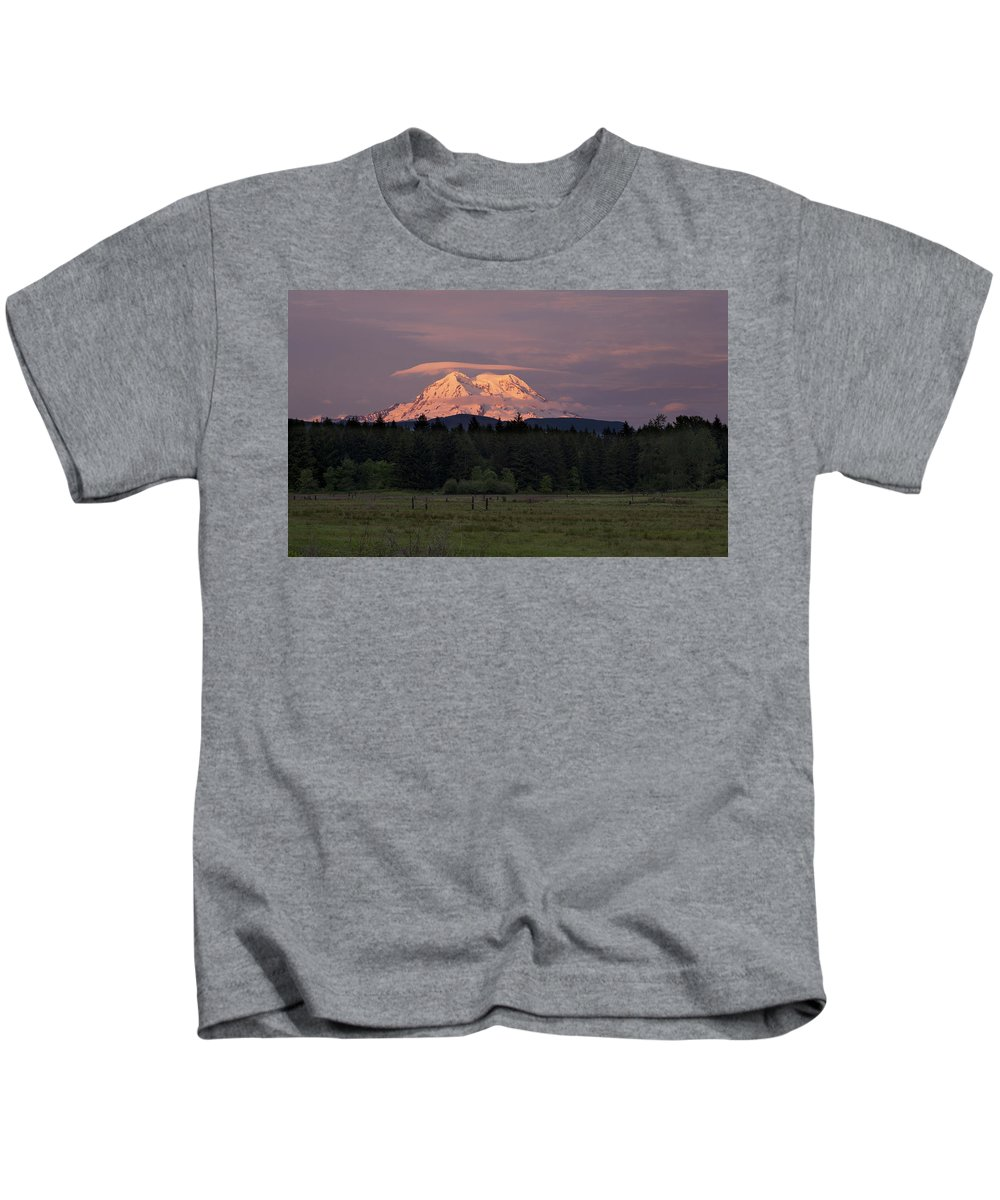 Mount Rainier Kids T-Shirt featuring the photograph Rainier Dusk by Mike Reid