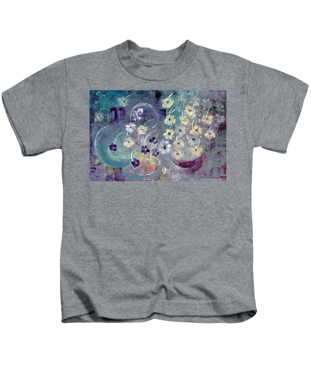 Flowers Kids T-Shirt featuring the painting Raining Flowers by Gina De Gorna