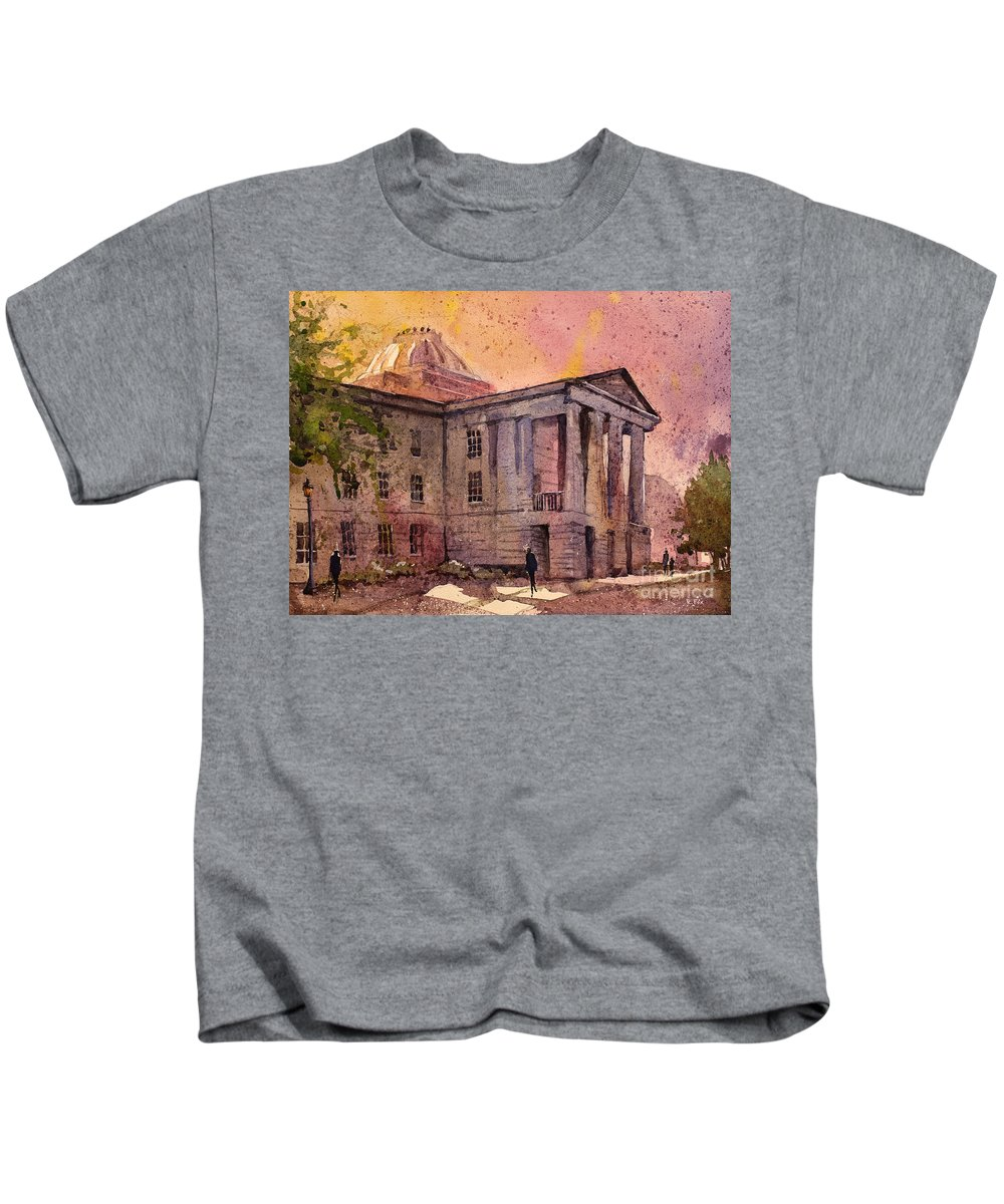 Art Prints Kids T-Shirt featuring the painting Raleigh Capital by Ryan Fox