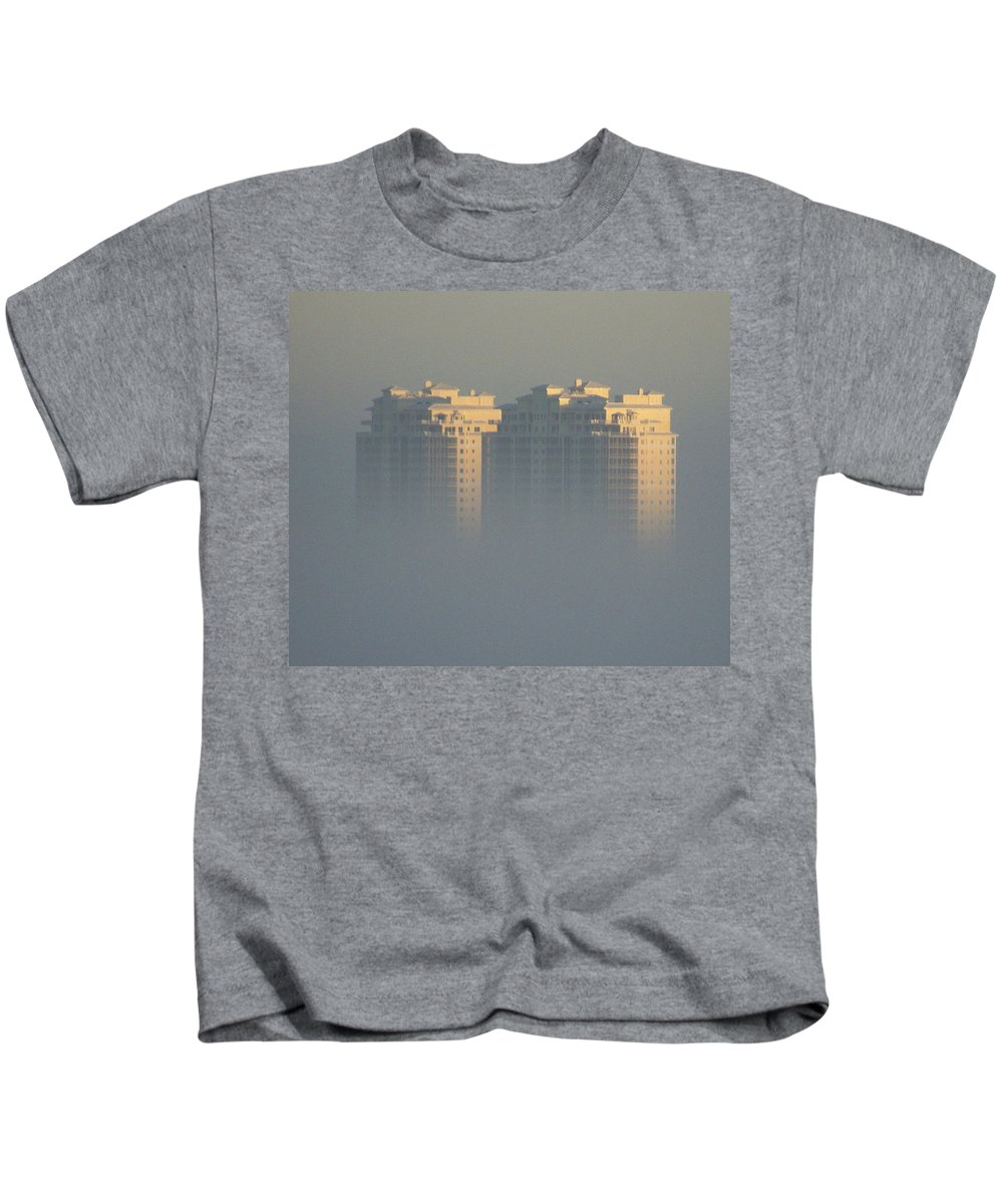 Raptor Bay Kids T-Shirt featuring the photograph Raptor Bay Morning Mist by Laurie Paci