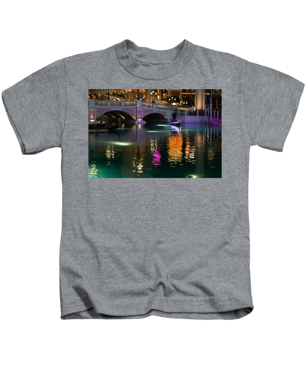 Georgia Mizuleva Kids T-Shirt featuring the photograph Razzle Dazzle - Colorful Neon Lights Up Canals And Gondolas At The Venetian Las Vegas by Georgia Mizuleva