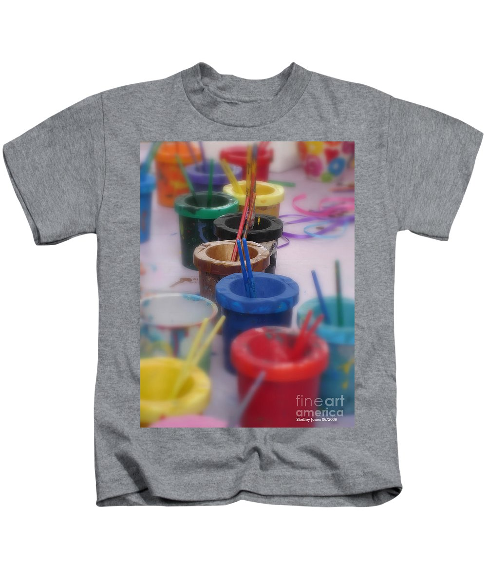 Painting Kids T-Shirt featuring the photograph Ready  Set  Paint by Shelley Jones