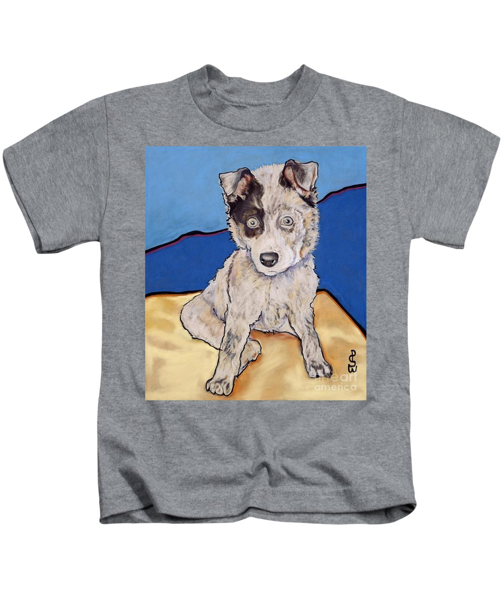 Merle Aussie Kids T-Shirt featuring the painting Reba Rae by Pat Saunders-White
