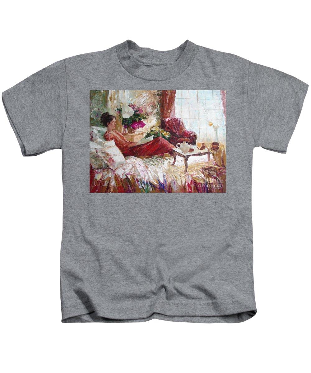 Art Kids T-Shirt featuring the painting Recent news by Sergey Ignatenko