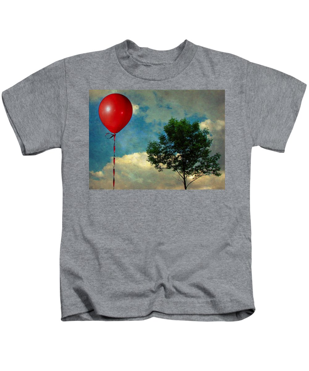 Red Kids T-Shirt featuring the photograph Red Balloon by Jessica Brawley