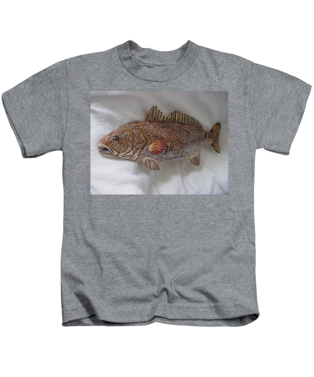 Fish Kids T-Shirt featuring the relief Red Drum Two-wooden Living Series by Lisa Ruggiero
