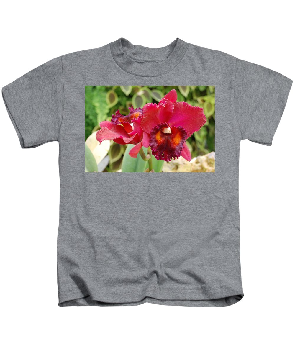 Macro Kids T-Shirt featuring the photograph Red Orchid by Rob Hans