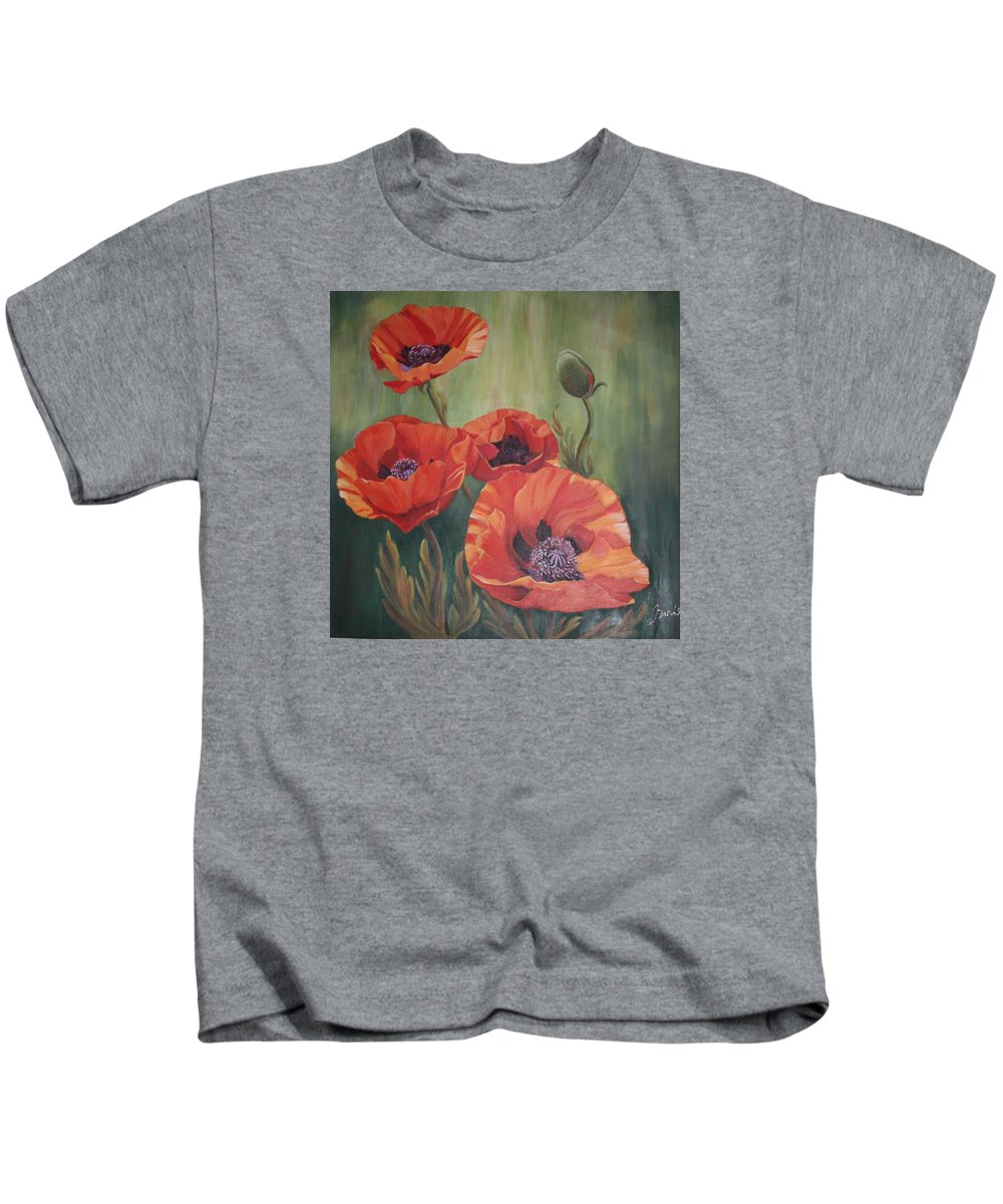 Floral Kids T-Shirt featuring the painting Red Poppies by Elizabeth Bard