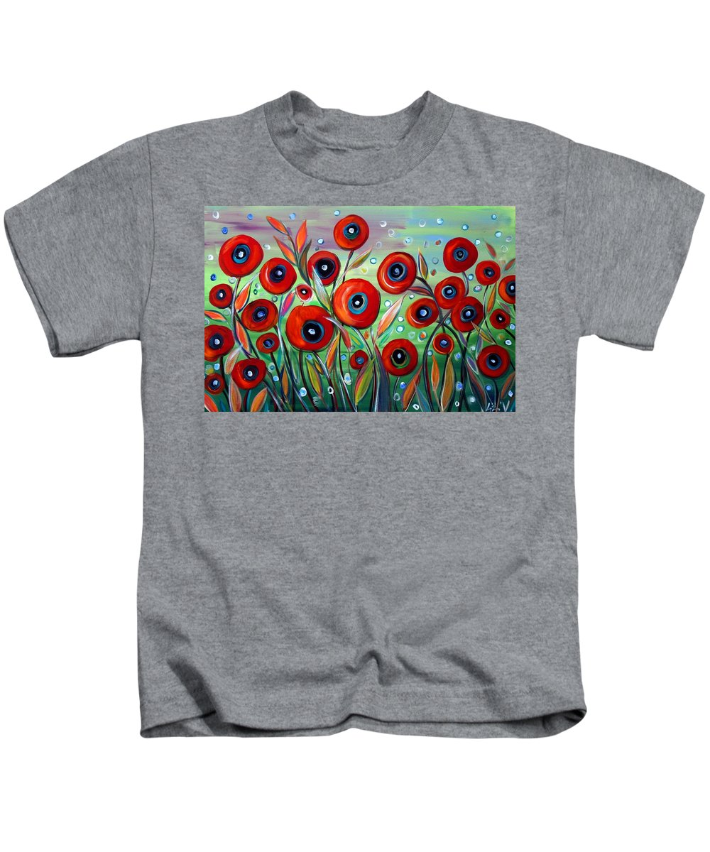 Flowers Kids T-Shirt featuring the painting Red Poppies In Grass by Luiza Vizoli