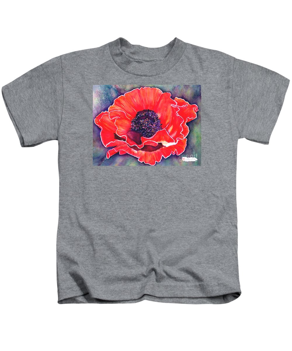 Red Flowers Kids T-Shirt featuring the painting Red Poppy by Norma Boeckler