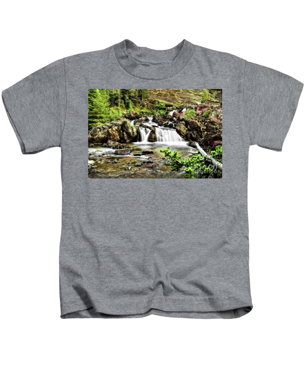 Waterfalls Kids T-Shirt featuring the photograph Red Rock Falls, Glacier National Park, Montana by Kay Brewer