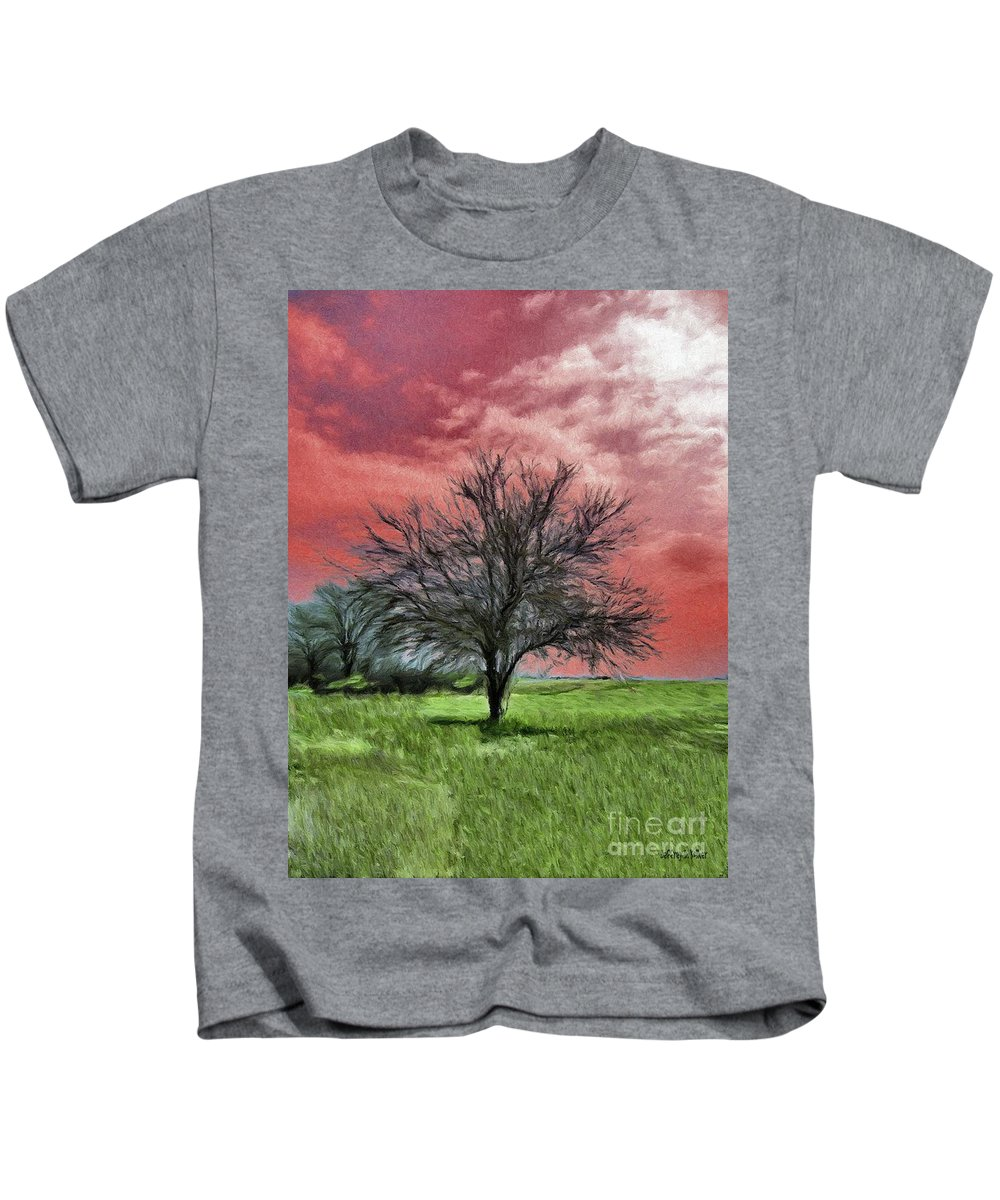 Red Kids T-Shirt featuring the painting Red Sky by Jeffrey Kolker